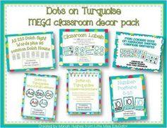 Dots on Turquoise Themed MEGA Classroom Decor Pack