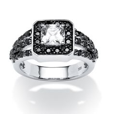 PALM BEACH JEWELRY A cushion-cut cubic zirconia is enveloped in round black cz accents. The perfect combination of 1.72 carats T.W. PlatinPrice - $99-BsNAX5e4