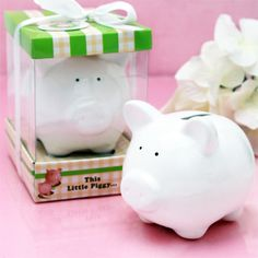 Little White Piggy Ceramic Bank - Baby Shower Favors - Baby Shower Favors and Supplies - Other Occasions - Wedding Favors & Party Supplies - Favors and Flowers