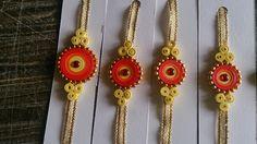 DIY Paper Quilling Rakhi for Raksha Bandhan Paper Quilling Jewelry, Quilling Art, Paper Jewelry, Quilling Ideas, Diy Jewellery, Jewlery, Quilling Rakhi, Hobbies And Crafts, Arts And Crafts