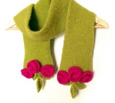 Felt knit scarf with flowers and leaves winter by allmadewithlove, $62.00