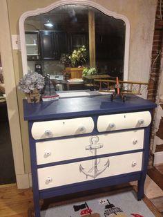 Nautical dresser by lena Nautical Dresser, Nautical Furniture, Nautical Bedroom, Nautical Home, Vintage Nautical Decor, Coastal Bedrooms, Paint Furniture, Furniture Making, Furniture Makeover