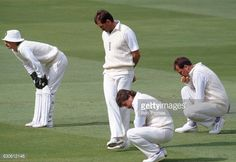 England's close fielders, left to right Jack Russell, Graham Gooch, Allan Lamb and John Emburey, during the Cornhill Test Match against Sri Lanka at Lords Cricket Ground in London on 25th August 1988.
