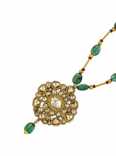 An Indian diamond, emerald and ruby necklace