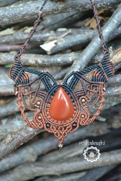 Macramè necklace with Carnelian drop natural by MahakashiCreations