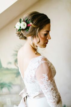 bridal hair with florals.