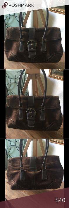 Vintage Suede Coach Soho Great foundation piece for your fall/winter wardrobe. This lady has some fading and wear, but definitely has a lot more life in her. Gently taken care of. Missing hang tag and her condition reflected in price. Handles and inside are in very good condition. Coach Bags