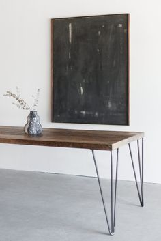 "84""L + 36""W + 30""H INDUSTRIAL STEEL + BIRCH + RECLAIMED OAK WAX FINISH //CUSTOMIZE THIS PIECE This Dining Table is Custom Made in Los Angeles. Industrial steel legs are cut and welded. Salvaged wood b"