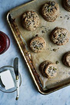 Whole grain scones with tahini