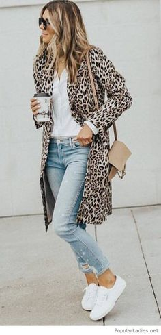 women's brown-and-black leopard spotted coat; white button up shi… women's brown-and-black leopard spotted coat; white button up shirt ; pair of white low top sneakers Style Work, Mode Style, Look Fashion, Winter Fashion, Womens Fashion, Fashion Trends, Fashion Ideas, Fashion Outfits, Fall Winter Outfits