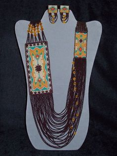 Loom Woven Drape Necklace and Earrings No by AZJOLEEBEADWEAVER