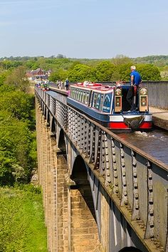 Kanalboot, Pont Cysyllte Aquädukt, Llangollen, Wales