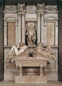 MICHELANGELO, Buonarroti -Medicis- Tomb of Giuliano de' Medici. Abajo figuras de la noche (cuerpo de hombre con pechos) y el día (inacabada)