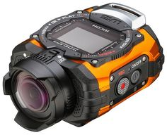 Ricoh Orange Waterproof Action Video Camera with LCD (Orange) The RICOH is Wi-Fi enabled, waterproof to an impressive depth of 32 feet Pesca Sub, 17 Kpop, Ultra Wide Angle Lens, Telephoto Zoom Lens, Waterproof Camera, Mechanical Design, Nikon, Gopro, Camera Gear