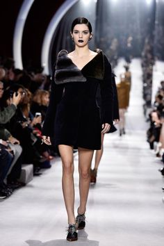 Pin for Later: Every Killer Outfit Kendall Jenner Wore This Fashion Month The Model Made Her Dior Debut in a Furry Collared Coat Making us wonder if there's a Dior campaign in her future.