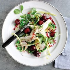 Chicken salad with courgettes, peas and poached cherries recipe. For the full recipe and more, click the picture or visit RedOnline.co.uk