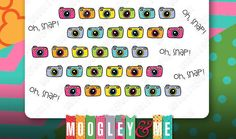 Hand Drawn Camera Planner Stickers, Erin Condren Stickers, Life Planner Stickers, Happy Planner Stickers, Personal Planner Stickers by MoogleyandMe on Etsy