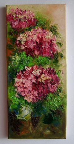 Original Oil Painting Pink Purple Hydrangea Hortensia Textured Art Europe Artist #Impressionism