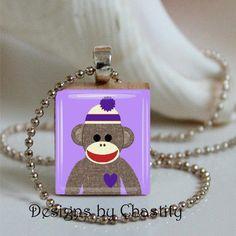 Purple Sock Monkey Scrabble Necklace