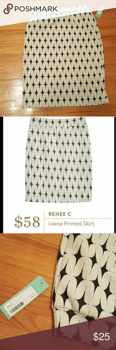 Black and white pencil skirt NWT Brand new pencil skirt! Black and off-white design, stretchy fabric to hug your curves. Renee C Skirts Pencil