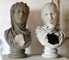 black and white - heads - The Blessed andThe Damned - sculpture - marble, quartz and amethyst - Livio Scarpella Sculpture Art, Garden Sculpture, Marble Quartz, Ouvrages D'art, Art Design, Deco, Three Dimensional, Creepy, Fine Art