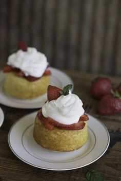 Homemade strawberry shortcakes. Say adios to those little round cups from the grocery bakery and whip up a tender cake perfect for your summer fruit.