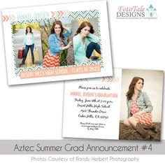 Aztec Summer Graduation Announcement custom photoshop templates for photographers Graduation Announcement Cards, Graduation Cards, Graduation Announcements, Graduation Templates, High School Classes, Photoshop Design, Senior Girls, Card Templates, Photo Cards