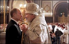 Vladimir Putin with Alexei the II the head of the Russian Orthodox Church.