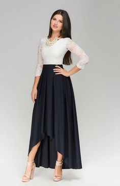 Evening Maxi Dress WomanFormal Assymetrical Dress by Cute Dresses, Beautiful Dresses, Casual Dresses, Modest Fashion, Fashion Dresses, Assymetrical Dress, Dress Skirt, Lace Dress, Mode Wax