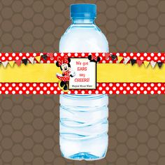 Minnie Mouse Red Yellow Water Bottle Labels by KDesigns2006 Minnie Mouse Birthday Invitations, Water Bottle Labels, Printable Stickers, Drink Bottles, Party Favors, Yellow, Digital, Handmade Gifts, Red