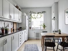 my scandinavian home: Get the look: A Swedish kitchen with a climbing plant framing the window.