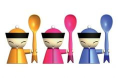 Chin Family Mr. Chin Egg Cup with Salt Castor and Spoon by A di Alessi | Emmo Home