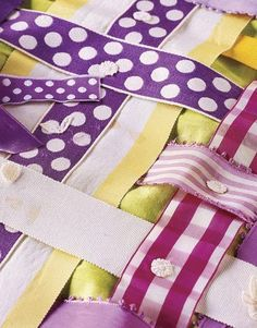 Great way to customize a cover for that extra long picnic table. Weave ribbons in your favorite colors over a solid fabric background to create an unexpected and inspiring tablecloth.