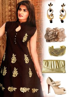 This #kurti will perfectly suits with this stunning peacock earrings, contrasting bangles, clutch and high heels pumps.
