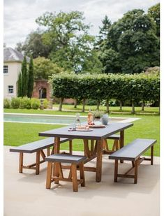 Looking for a modern style statement in the kitchen or dining room? Perhaps you'd like an outdoor dining set with a more contemporary look? The Chilson Table and Bench Set is the perfect solution for those looking for an industrial edge to smarten up thei Outdoor Tables And Chairs, Garden Table And Chairs, Outdoor Dining Set, Outdoor Decor, Dining Sets, Dining Room, Indoor Outdoor, Outdoor Living, Garden Dining Set