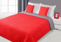 Červeno-sivý prehoz Paula je dostupný v dvoch rozmeroch: 170x210 alebo 220x240 cm.