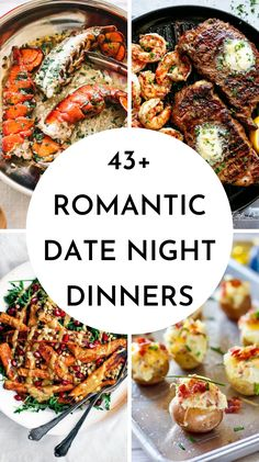 You can skip the restaurant for date night with these delicious and easy dinner ideas for two! 43 romantic date night dinner ideas for two perfect for Valentine's day dinner. Share this recipe with your loved one for your next date night in! Dinner Date Recipes, Romantic Dinner Recipes, Easy Romantic Dinner, Romantic Meals, Date Night Appetizers At Home, Anniversary Dinner Recipes, Birthday Dinner Recipes, Romantic Food, Steak Dinner Recipes