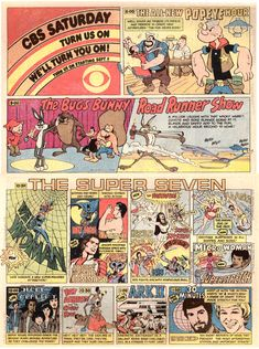 1978 CBS Saturday Morning Cartoons Advertisement in Comic Books, featuring: Popeye, Bugs Bunny, Roadrunner, Web Woman, Bat Man, Tarzan, Jason of Star Command, The Fantastics (Hercules, Super Samurai, Merlin, Sinbad, Isis), Moray and Manta, Micro Woman and Superstretch, Space Academy, Fat Albert, Ark II,
