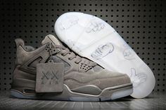 3ed185aec4cf 2017 New KAWS x Air Jordan 4 Cool Grey Glow in the Dark Sole Jordan 4
