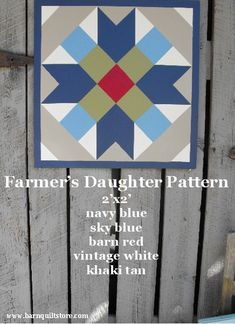 Barn Quilt Farmer's Daughter Patterm by TheBarnQuiltStore on Etsy, $65.00