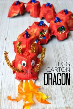 A fun way to make an egg carton dragon craft. Great Chinese New Year craft for kids and fun way to craft with recycled materials. #recyclingforkids