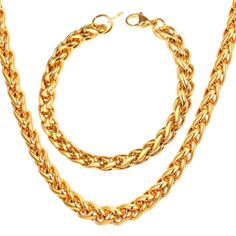 Stainless-Steel-18K-Gold-Plated-Wheat-Chain-Necklace-Bracelet-Sets-3MM-6MM-9MM