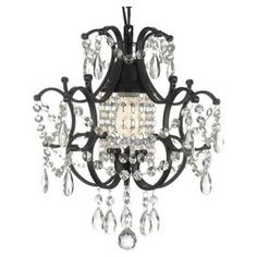 Look what I found on Black & Pink Dangling Crystal Chandelier by Gallery Lighting This would be super cute in a baby girls room! Crystal Ceiling Light, Crystal Chandelier Lighting, French Chandelier, Black Chandelier, Chandelier Lamp, Ceiling Lights, Gothic Chandelier, Crystal Lamps, Crystal Lights
