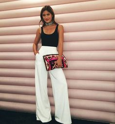 Party outfit Style Black top and white trousers