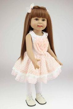 18 inch Handmade Full Vinyl American Girl Doll Fashion Reborn Baby Toys Chilldren Birthday Gift Valentine's Day Dolls Blonde