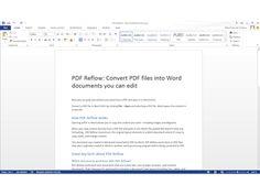 Office 2013 : Les documents PDF sont lisibles grâce à divers logiciels. Office permet depuis quelque temps déjà de sauvegarder des fichiers Word en PDF, mais restait incapable de les éditer une fois convertis. Office 2013 inverse la donne, et permet désormais de les modifier. L'interface est rigoureusement la même que pour des documents Word: on déplace les images, on modifie le texte, sans aucune contrainte.