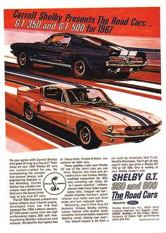 1967 Ford Mustang Shelby GT 350 and GT 500 Ad...