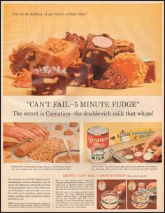 """""""Can't Fail-5 Minute Fudge"""" CARNATION EVAPORATED MILK LIFE 11/24/1958"""