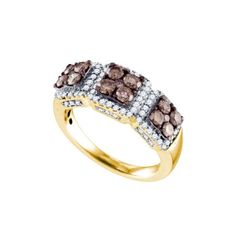 10kt Yellow Gold Womens Round Cognac-brown Colored Diamond Cluster Band 1-1/3 Cttw #yellowdiamonds