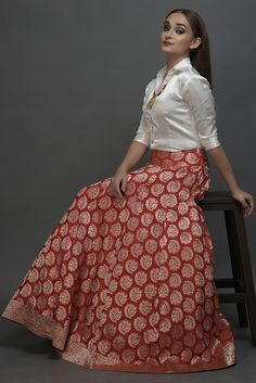 Poppy Red Banarasi Zari Handwoven Pure Silk Skirt With Blouse Lehenga Skirt, Lehnga Dress, Banarasi Lehenga, Saree, Long Gown Dress, The Dress, Indian Designer Outfits, Designer Dresses, White Blouse Designs